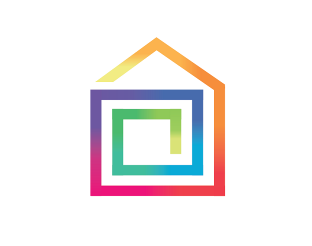 PRSim multicoloured house logo - small